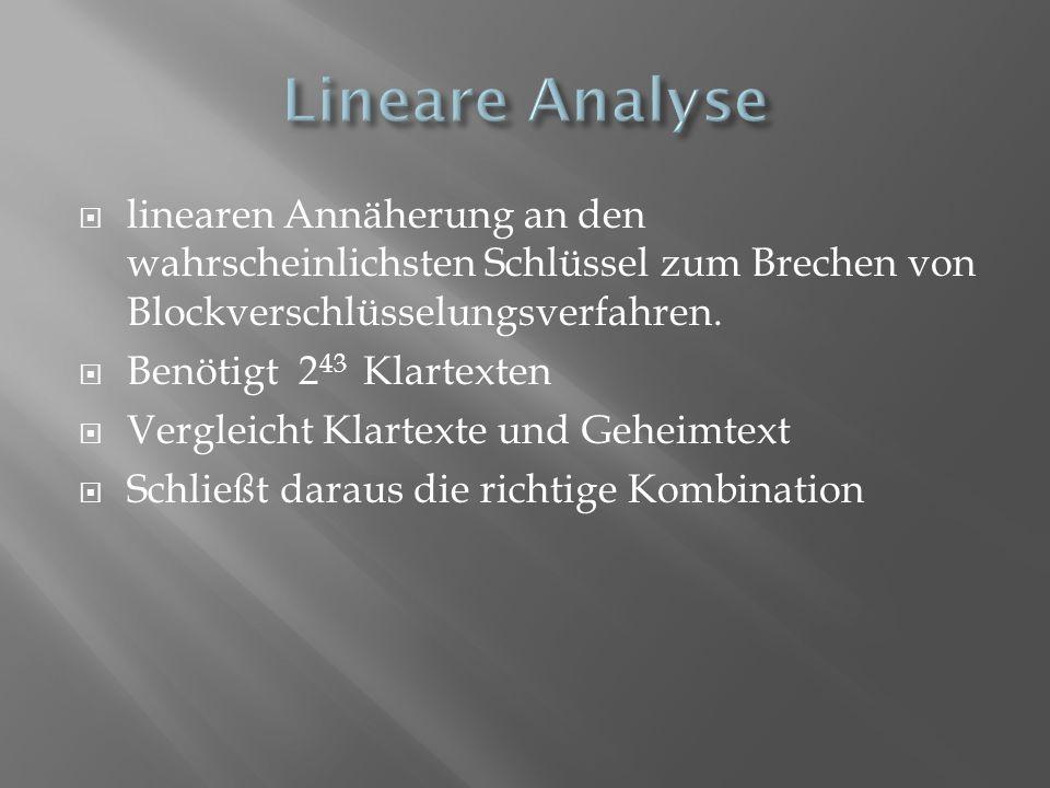Lineare Analyse linearen Annäherung an den wahrscheinlichsten Schlüssel zum Brechen von Blockverschlüsselungsverfahren.