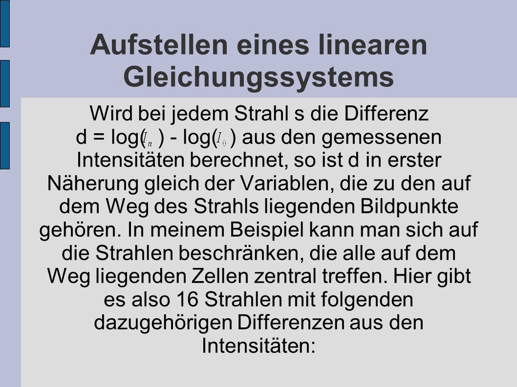 Aufstellen eines linearen Gleichungssystems