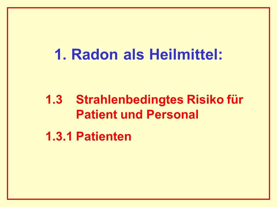 1. Radon als Heilmittel: 1.3 Strahlenbedingtes Risiko für