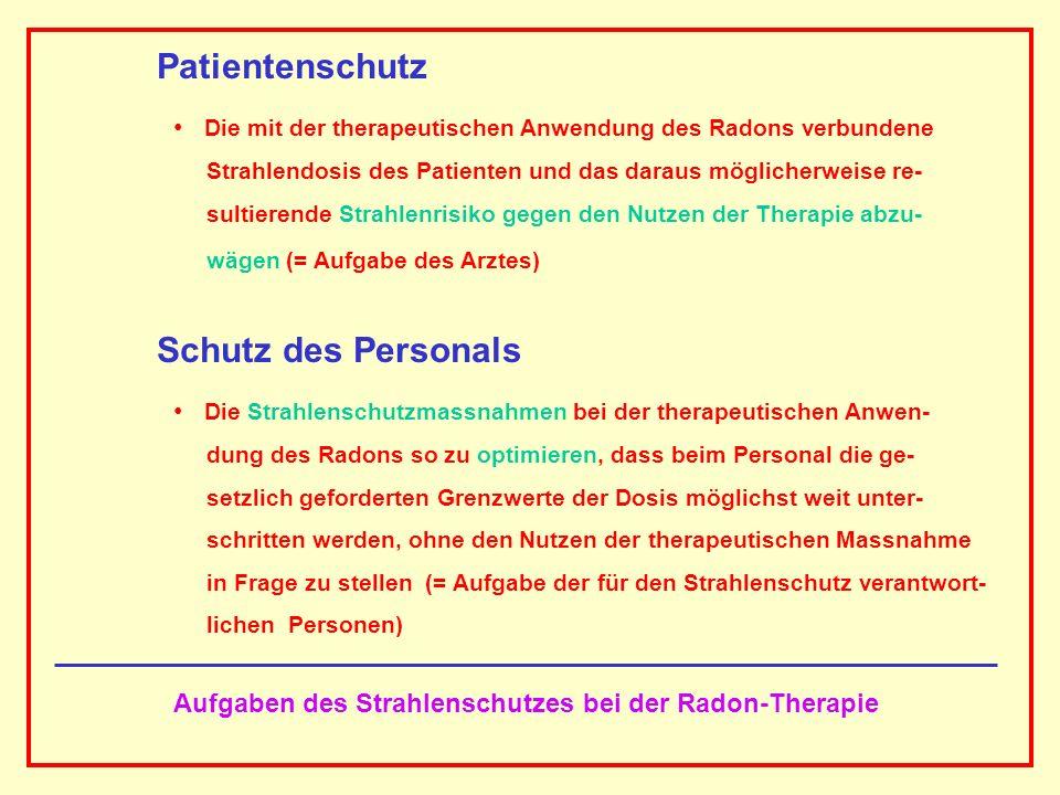 Aufgaben des Strahlenschutzes bei der Radon-Therapie