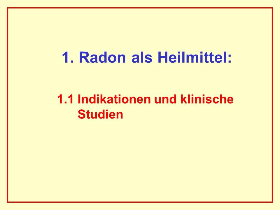 1. Radon als Heilmittel: 1.1 Indikationen und klinische Studien