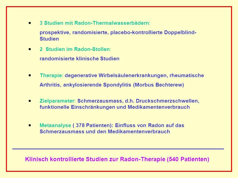 Klinisch kontrollierte Studien zur Radon-Therapie (540 Patienten)