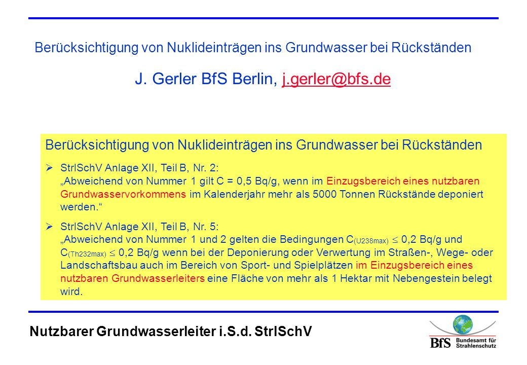 J. Gerler BfS Berlin, j.gerler@bfs.de