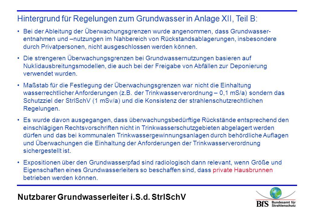 Hintergrund für Regelungen zum Grundwasser in Anlage XII, Teil B:
