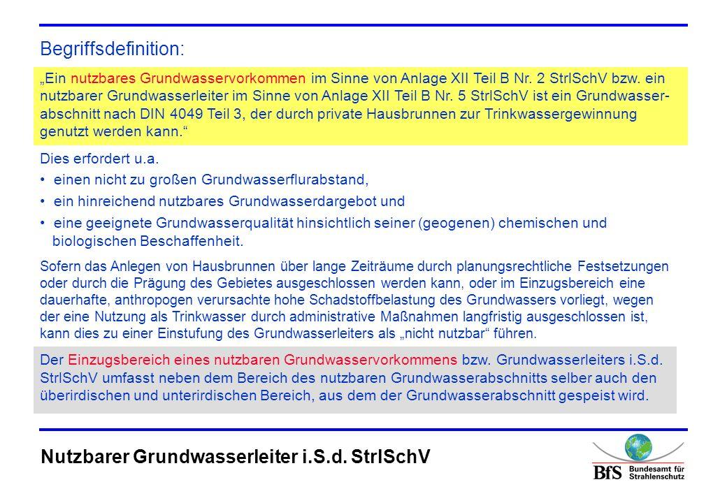 Nutzbarer Grundwasserleiter i.S.d. StrlSchV