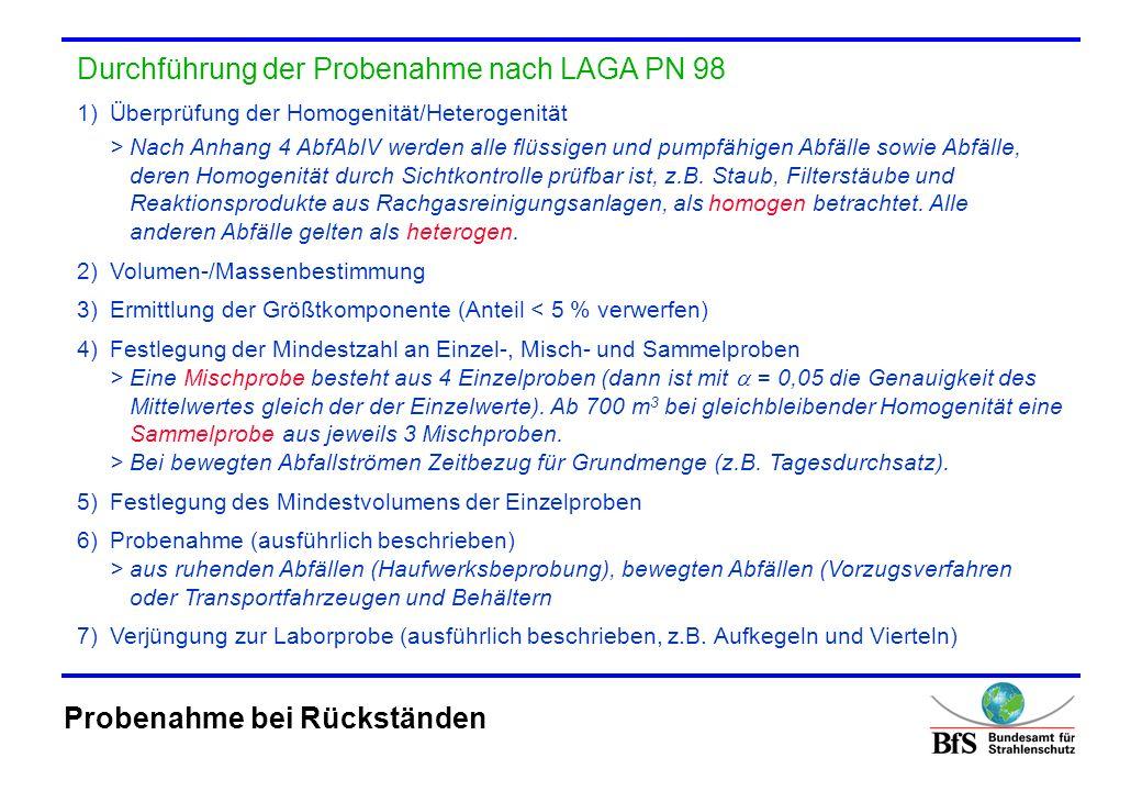 Durchführung der Probenahme nach LAGA PN 98