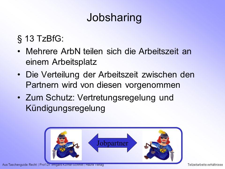 Jobsharing § 13 TzBfG: Mehrere ArbN teilen sich die Arbeitszeit an einem Arbeitsplatz.