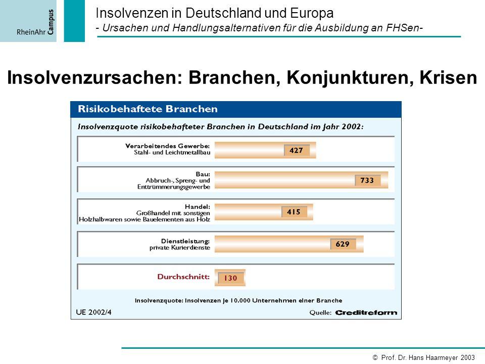 Insolvenzursachen: Branchen, Konjunkturen, Krisen