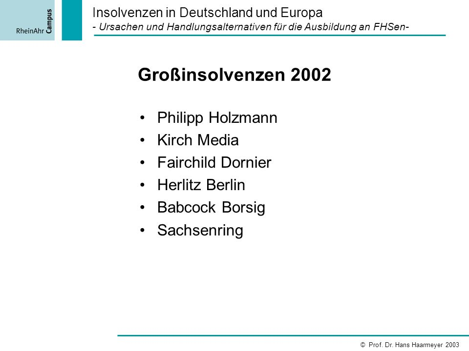 Großinsolvenzen 2002 Philipp Holzmann Kirch Media Fairchild Dornier