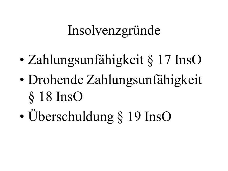 Insolvenzgründe Zahlungsunfähigkeit § 17 InsO. Drohende Zahlungsunfähigkeit § 18 InsO.