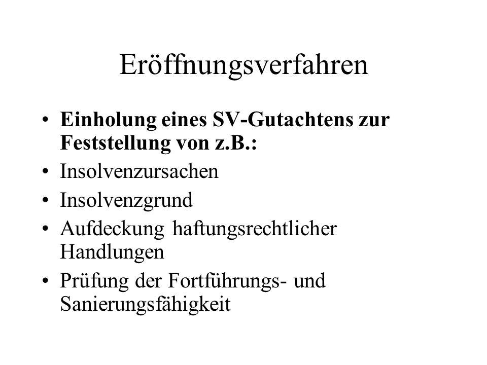 Eröffnungsverfahren Einholung eines SV-Gutachtens zur Feststellung von z.B.: Insolvenzursachen. Insolvenzgrund.