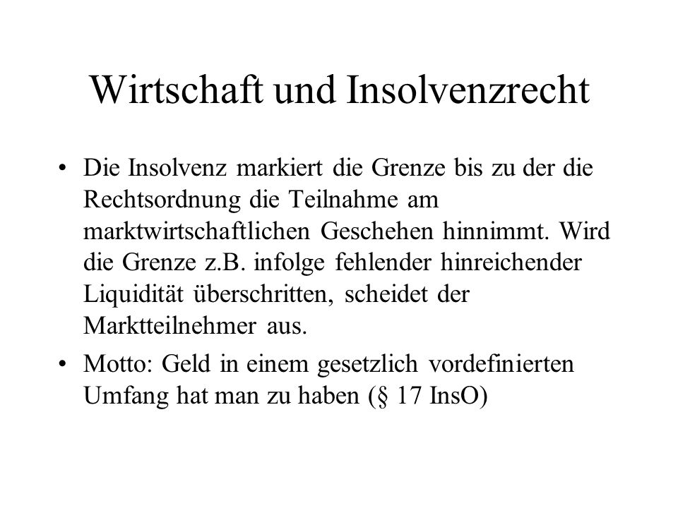 Wirtschaft und Insolvenzrecht