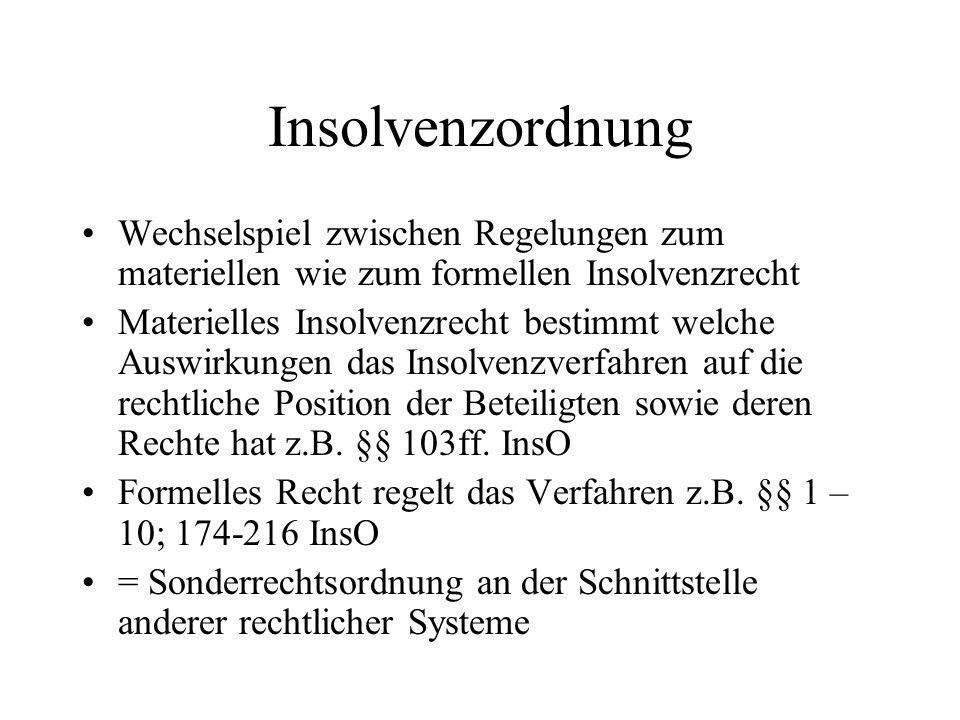Insolvenzordnung Wechselspiel zwischen Regelungen zum materiellen wie zum formellen Insolvenzrecht.