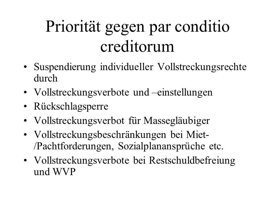 Priorität gegen par conditio creditorum