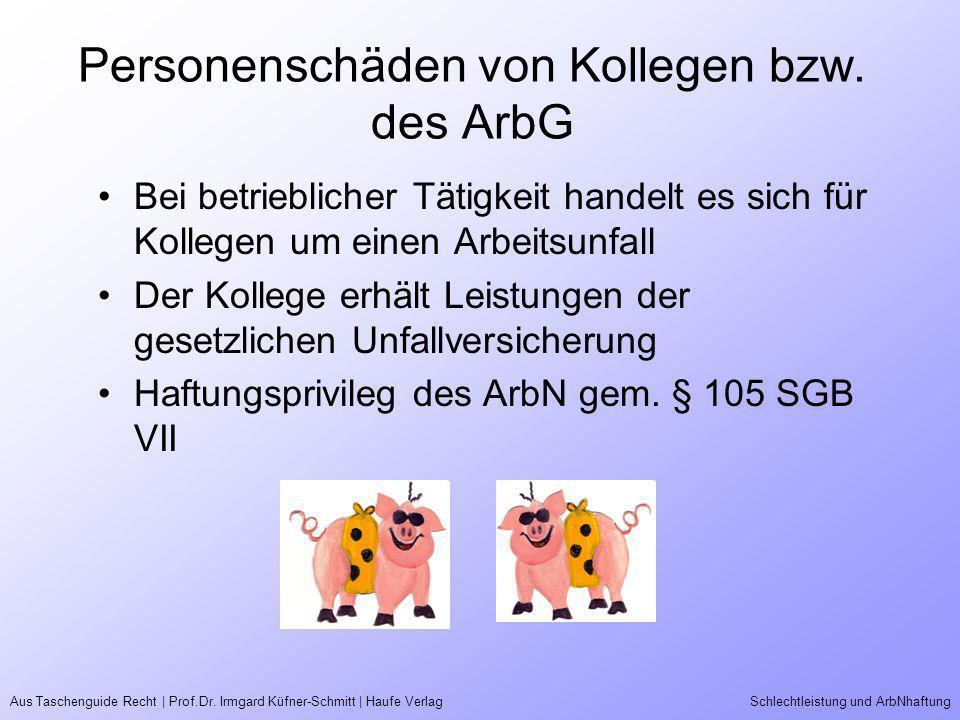 Personenschäden von Kollegen bzw. des ArbG