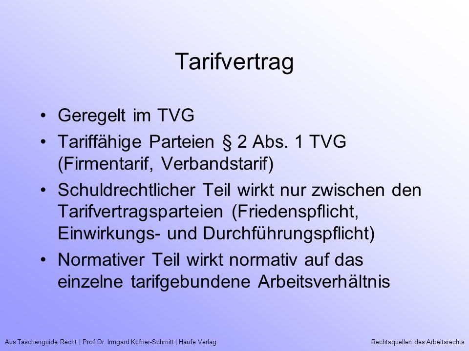 Tarifvertrag Geregelt im TVG