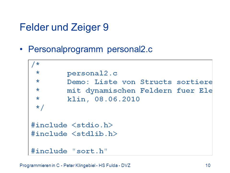 Felder und Zeiger 9 Personalprogramm personal2.c