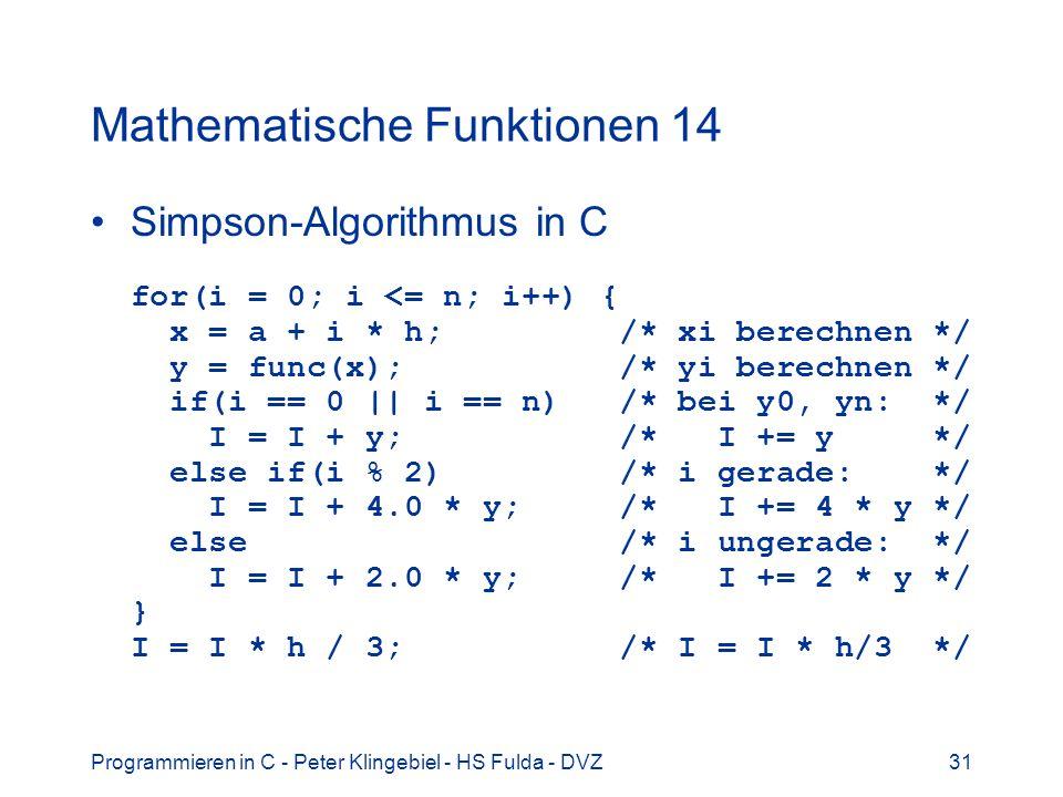 Mathematische Funktionen 14