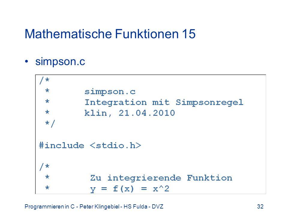 Mathematische Funktionen 15