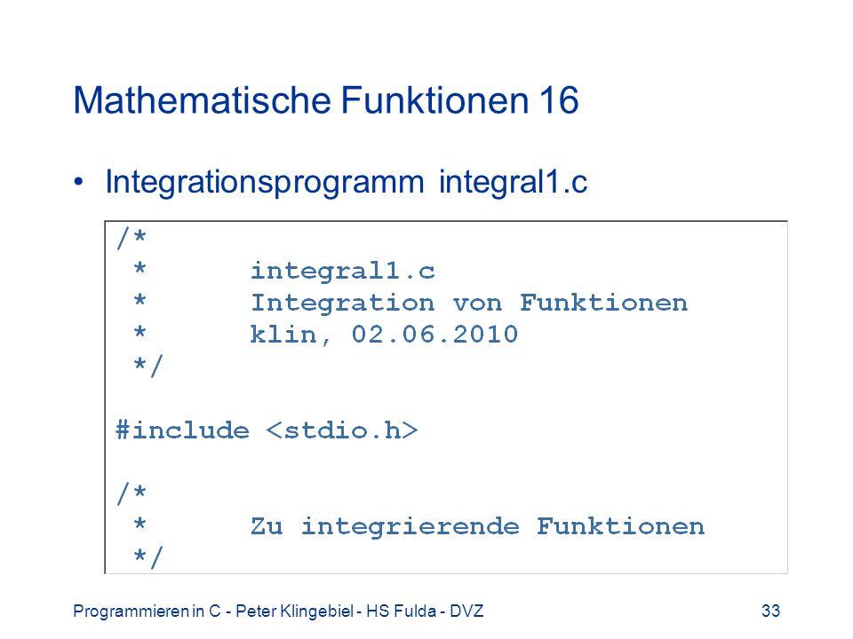 Mathematische Funktionen 16