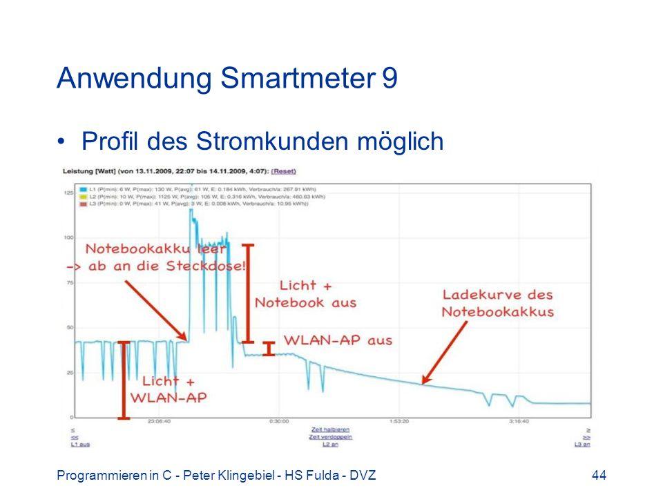 Anwendung Smartmeter 9 Profil des Stromkunden möglich