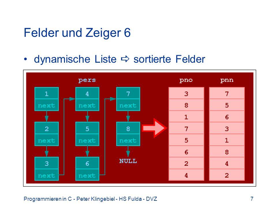 Felder und Zeiger 6 dynamische Liste  sortierte Felder