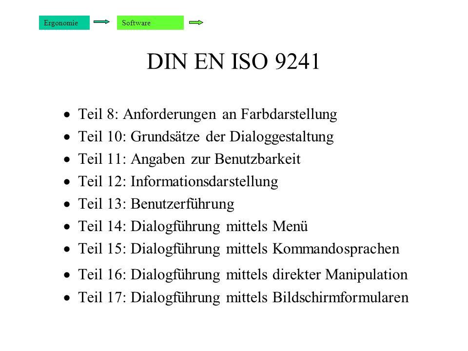 DIN EN ISO 9241 Teil 8: Anforderungen an Farbdarstellung