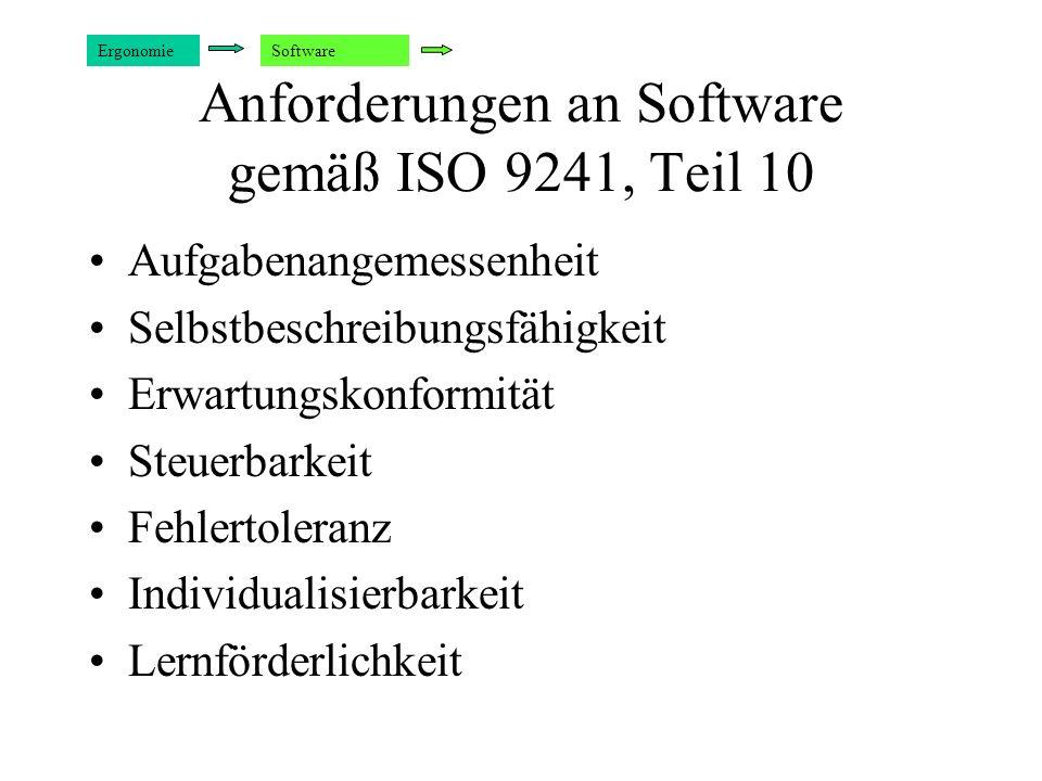 Anforderungen an Software gemäß ISO 9241, Teil 10