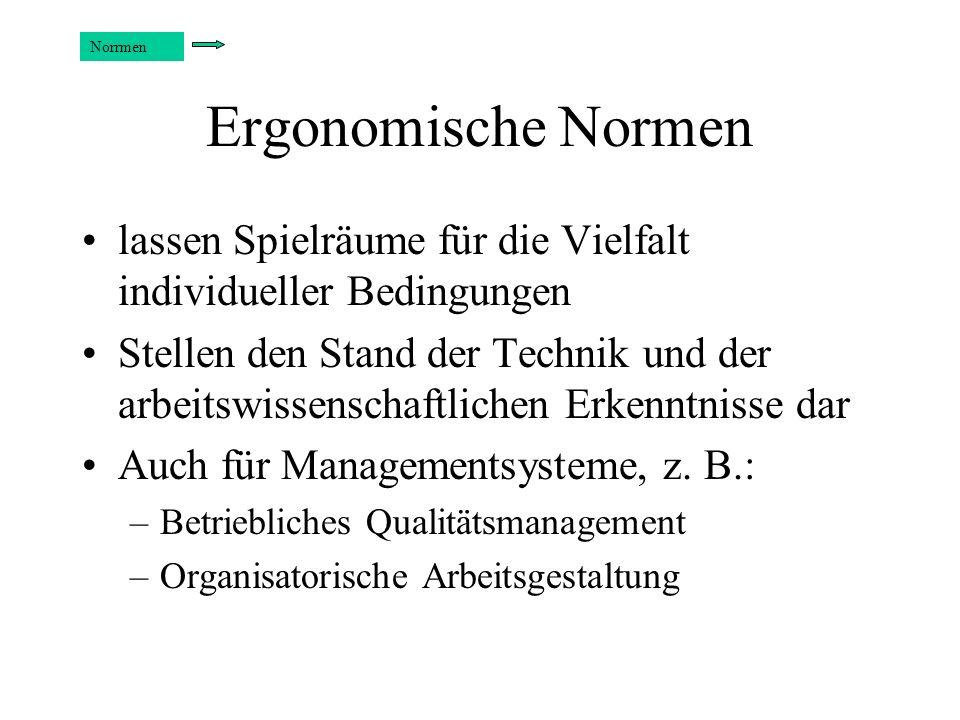 NorrmenErgonomische Normen. lassen Spielräume für die Vielfalt individueller Bedingungen.