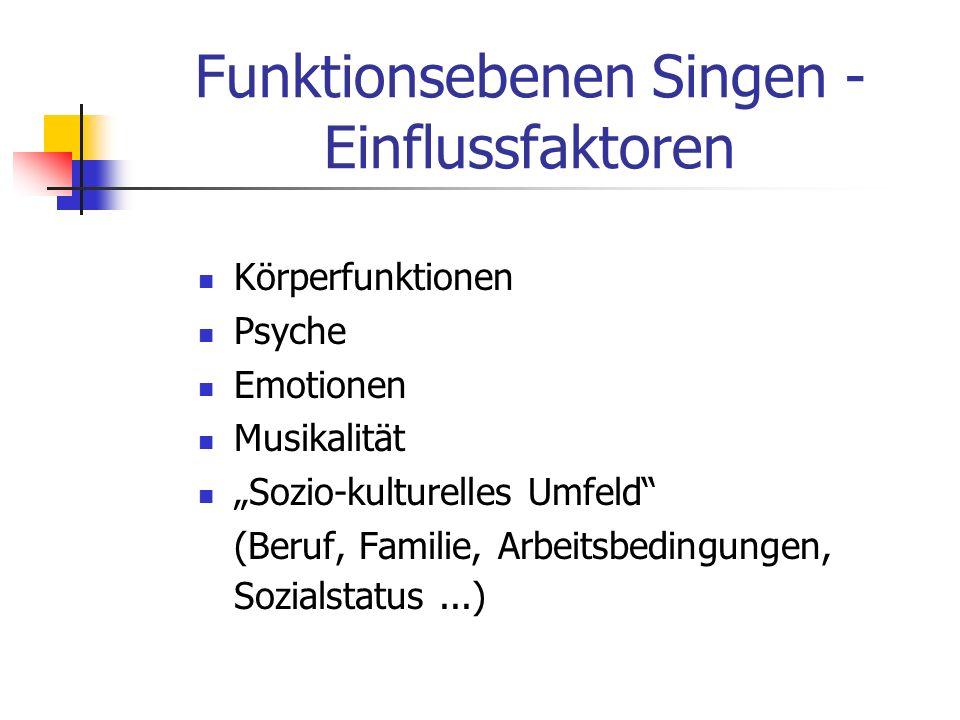 Funktionsebenen Singen - Einflussfaktoren