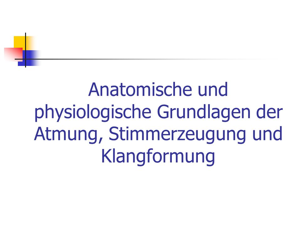Anatomische und physiologische Grundlagen der Atmung, Stimmerzeugung und Klangformung