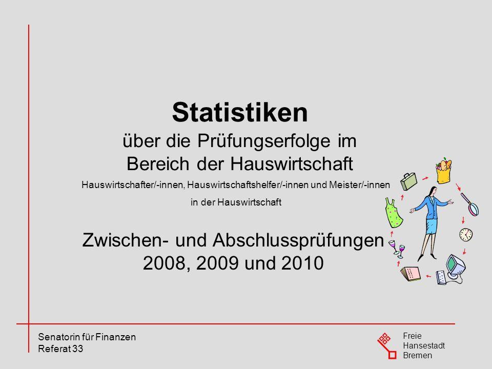 Statistiken über die Prüfungserfolge im Bereich der Hauswirtschaft