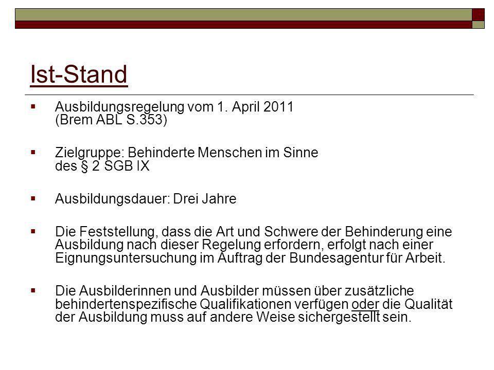 Ist-Stand Ausbildungsregelung vom 1. April 2011 (Brem ABL S.353)