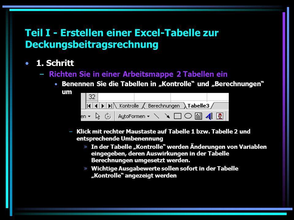 Teil I - Erstellen einer Excel-Tabelle zur Deckungsbeitragsrechnung