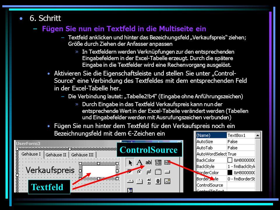 ControlSource Textfeld 6. Schritt