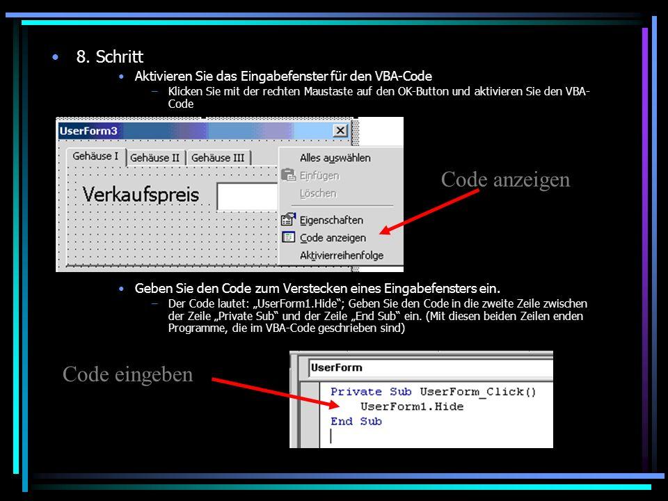 Code anzeigen Code eingeben 8. Schritt
