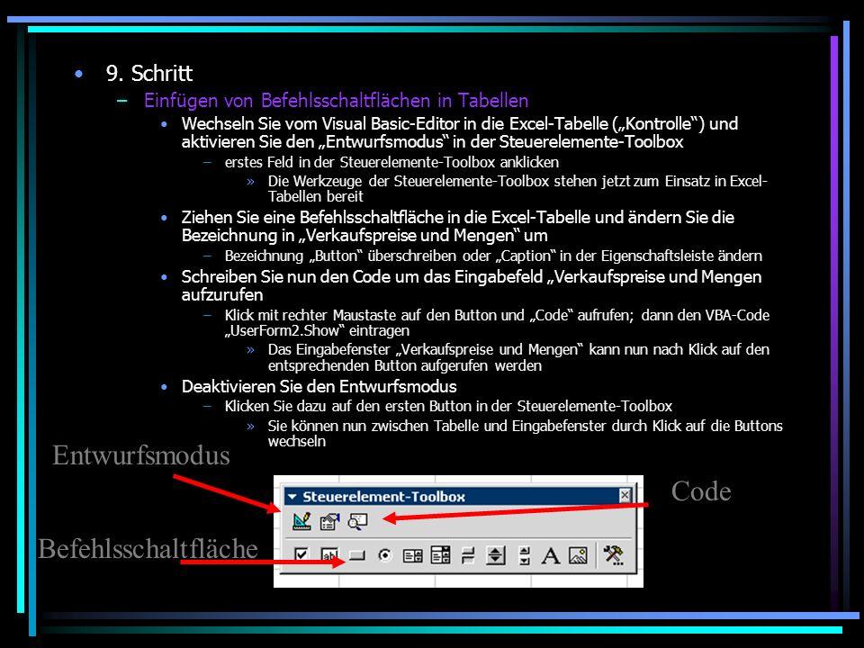 Entwurfsmodus Code Befehlsschaltfläche 9. Schritt