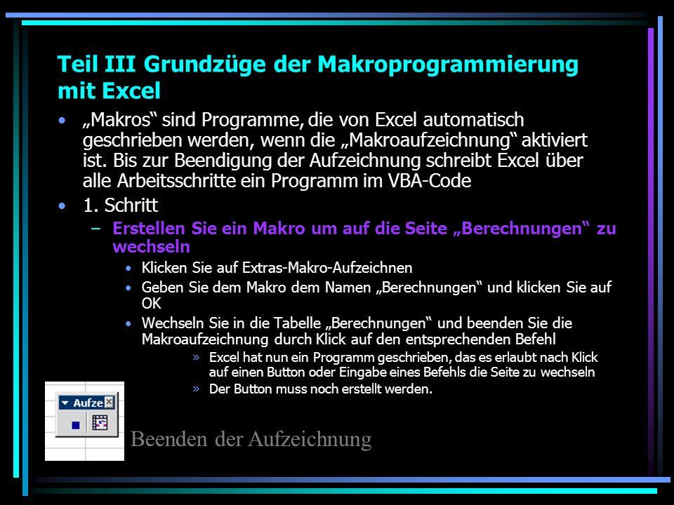 Teil III Grundzüge der Makroprogrammierung mit Excel