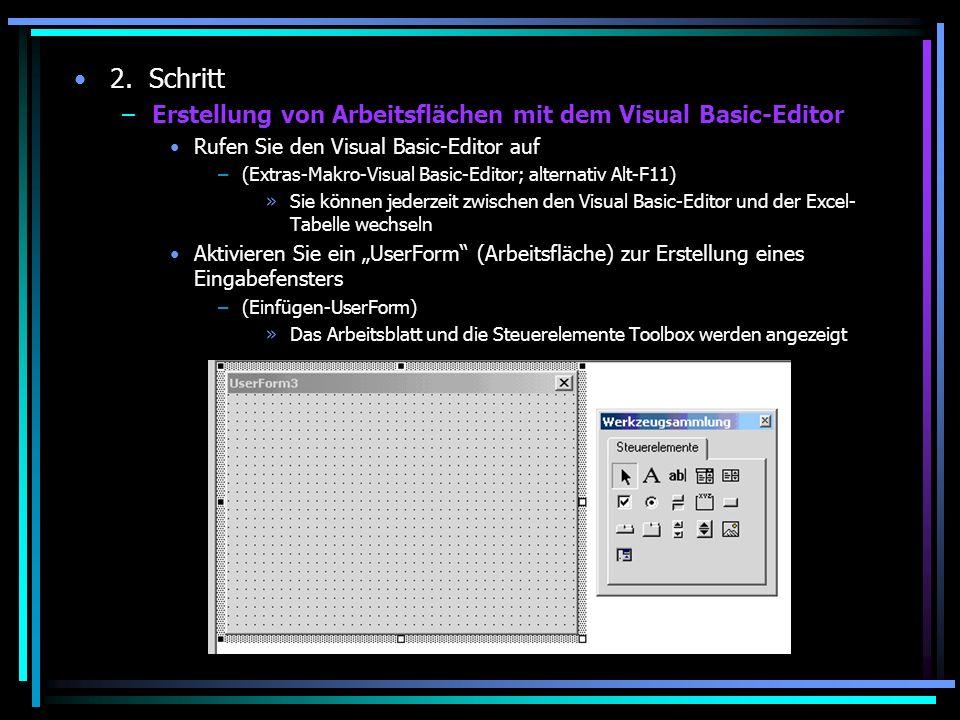 2. Schritt Erstellung von Arbeitsflächen mit dem Visual Basic-Editor