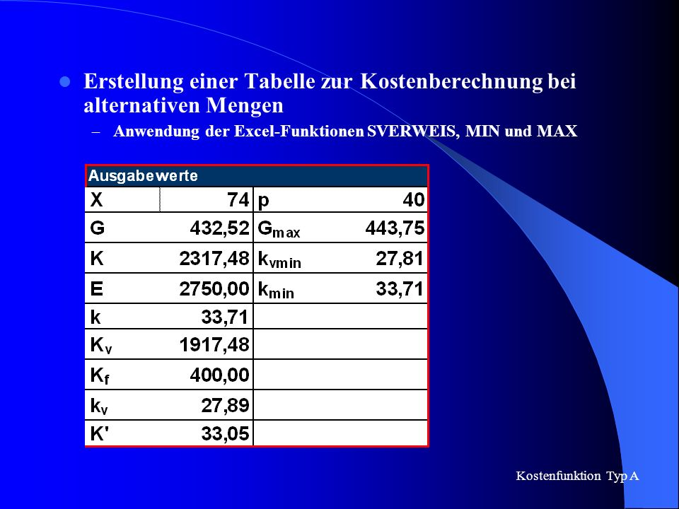 Erstellung einer Tabelle zur Kostenberechnung bei alternativen Mengen