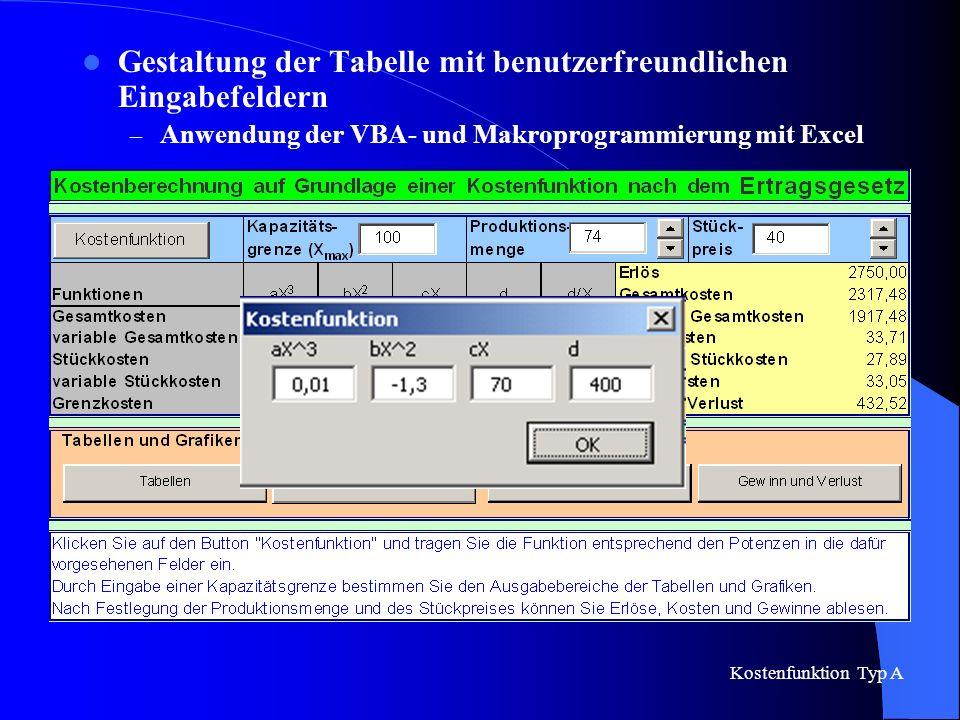 Gestaltung der Tabelle mit benutzerfreundlichen Eingabefeldern