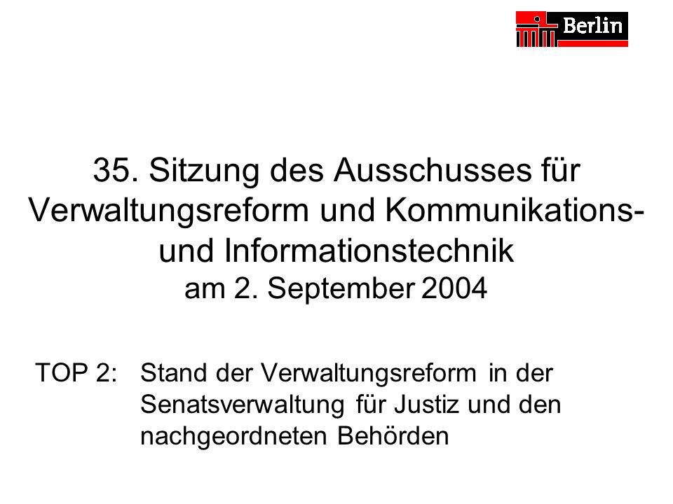 35. Sitzung des Ausschusses für Verwaltungsreform und Kommunikations- und Informationstechnik am 2. September 2004