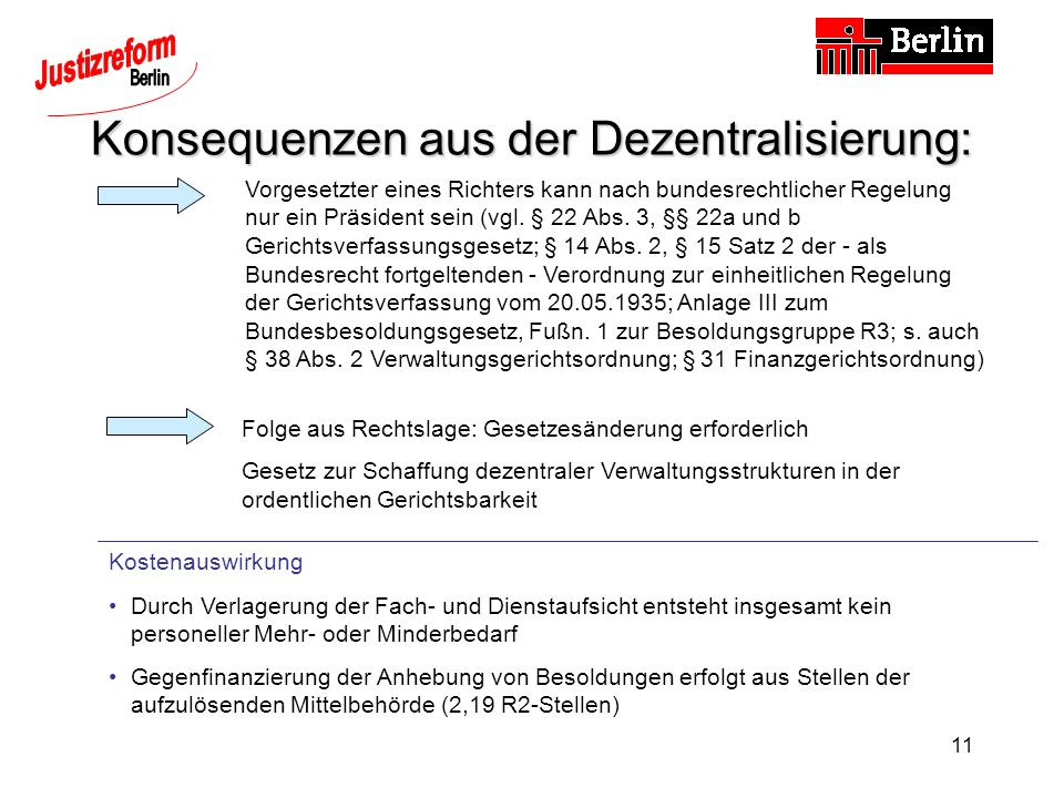 Konsequenzen aus der Dezentralisierung: