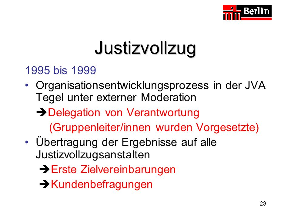 Justizvollzug 1995 bis 1999. Organisationsentwicklungsprozess in der JVA Tegel unter externer Moderation.