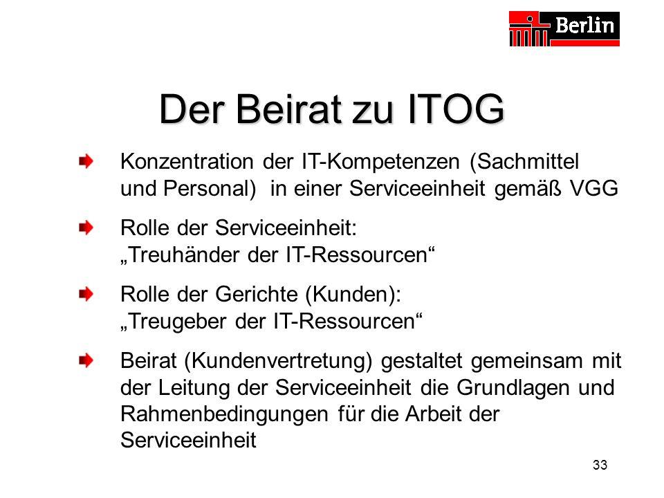 Der Beirat zu ITOG Konzentration der IT-Kompetenzen (Sachmittel und Personal) in einer Serviceeinheit gemäß VGG.