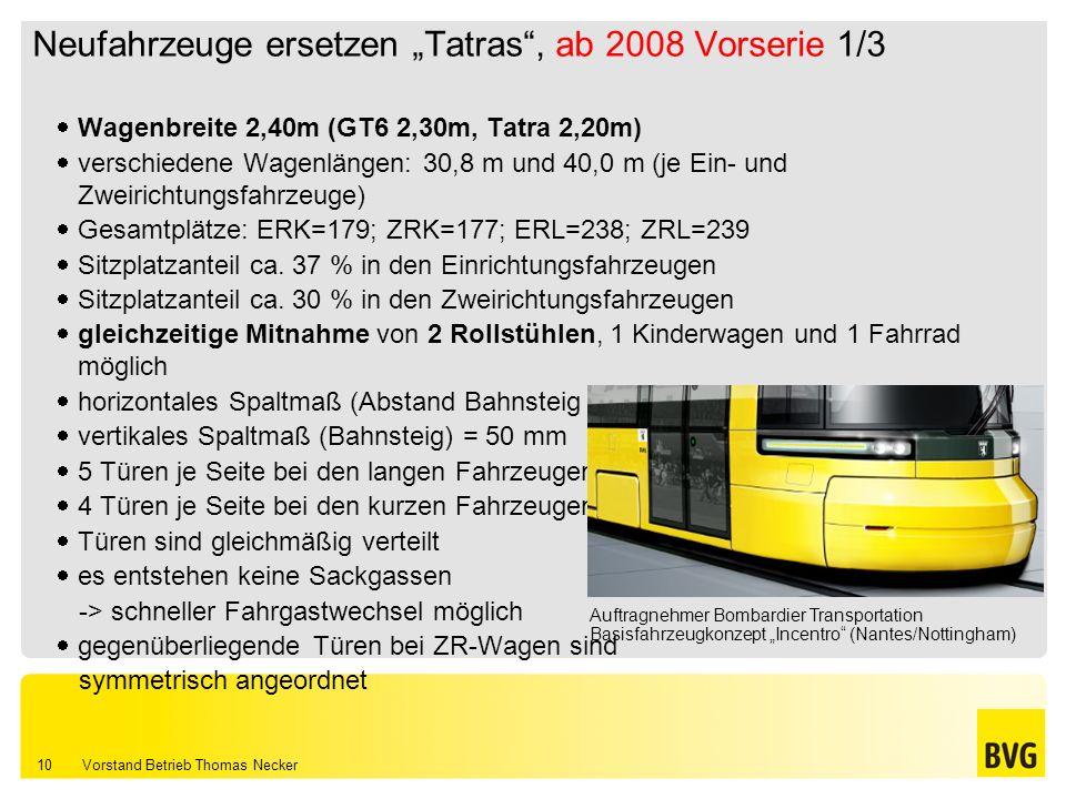 "Neufahrzeuge ersetzen ""Tatras , ab 2008 Vorserie 1/3"
