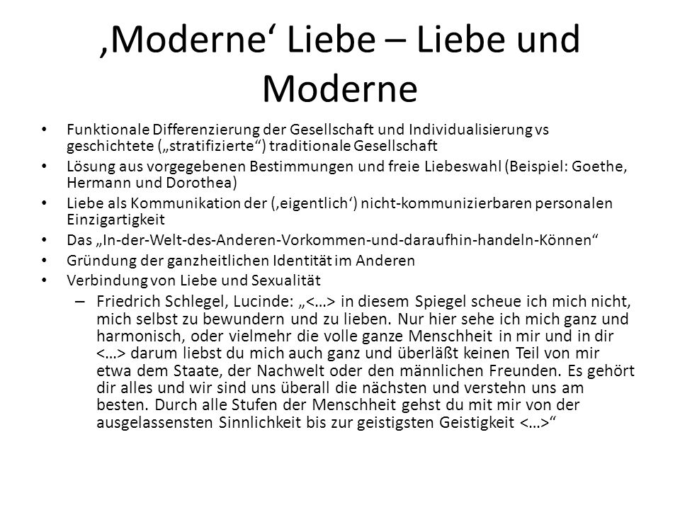 'Moderne' Liebe – Liebe und Moderne