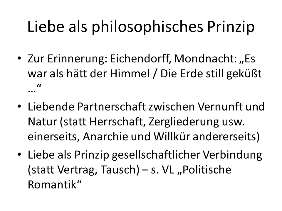 Liebe als philosophisches Prinzip