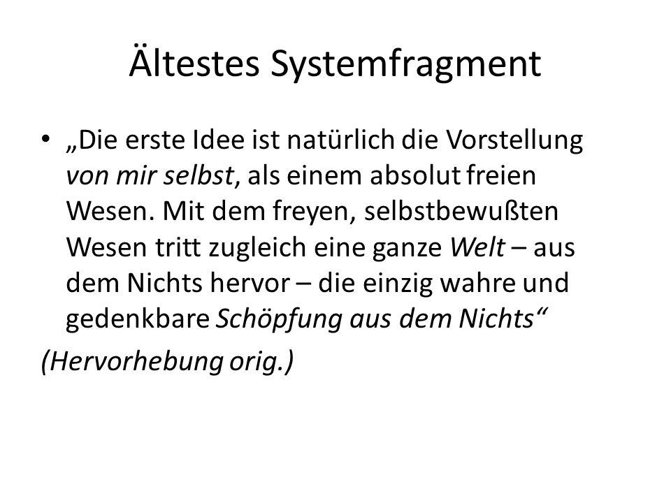 Ältestes Systemfragment