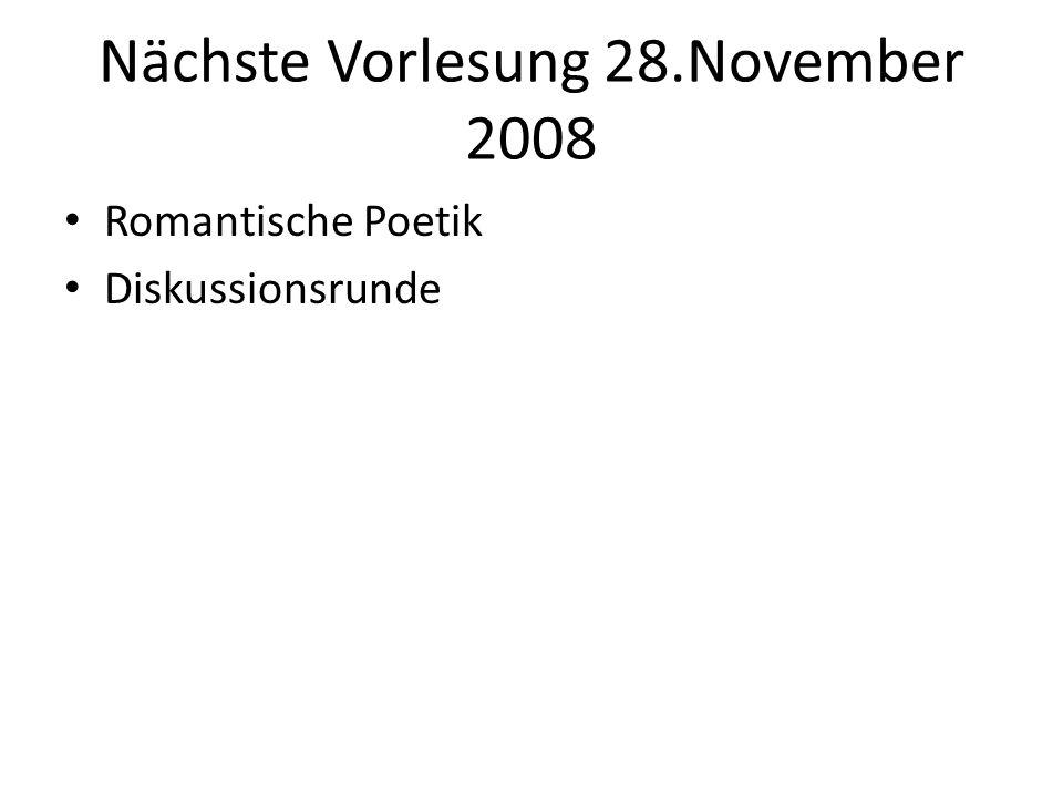 Nächste Vorlesung 28.November 2008